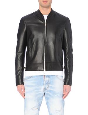 D SQUARED Leather zip-up biker jacket