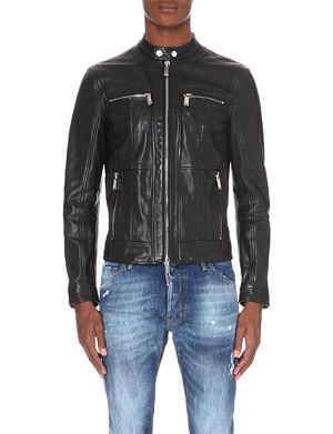 D SQUARED Zipped-cuff leather biker jacket