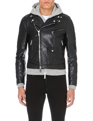 D SQUARED Hoody underlay leather biker jacket