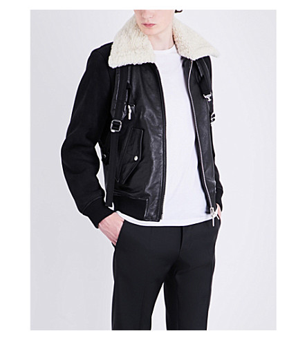 DSQUARED2 Harness strap shearling leather jacket (Black