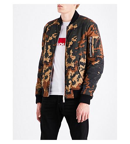 DSQUARED2 Camo-print cotton-twill bomber jacket (Brown+black+green