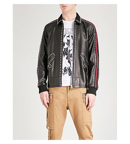 DSQUARED2 Studded leather bomber jacket (Black