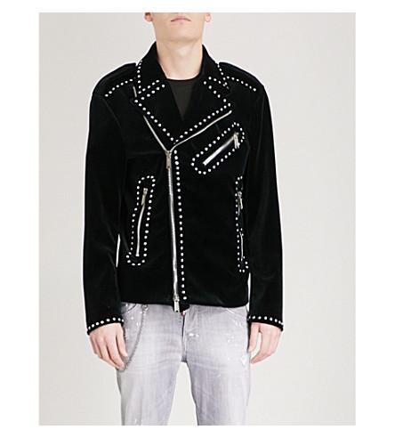 DSQUARED2 Studded velvet biker jacket (Black