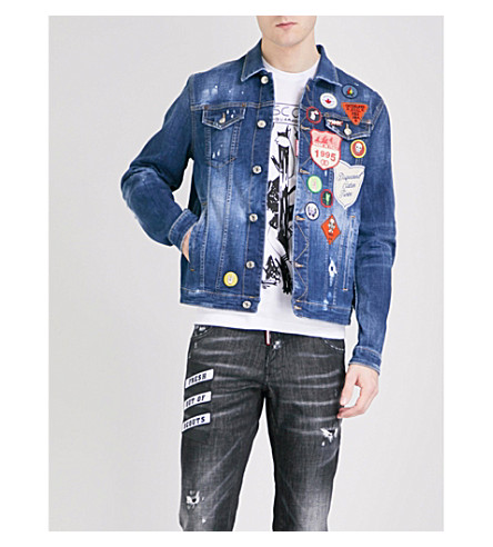 DSQUARED2 Badge-detailed stretch-denim jacket (Navy