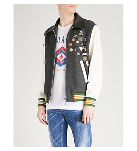 DSQUARED2 Patchwork wool-blend and leather jacket (Mix+color