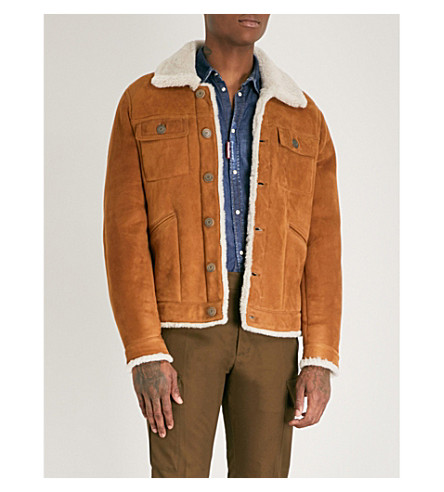 DSQUARED2 Textured shearling-trimmed leather jacket (Camel