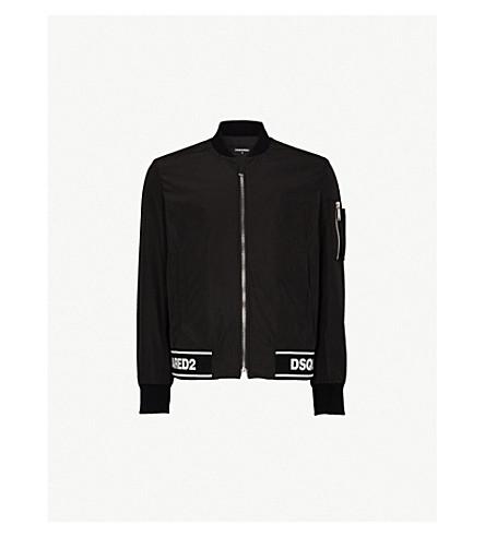 DSQUARED2 品牌修剪编织夹克 (黑色