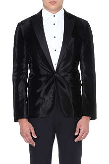 D SQUARED Velvet imprint satin-lapel jacket