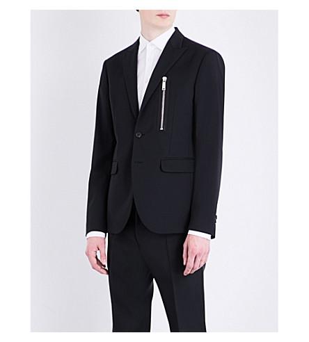 DSQUARED2 Zip-detail regular-fit stretch-wool jacket (Black