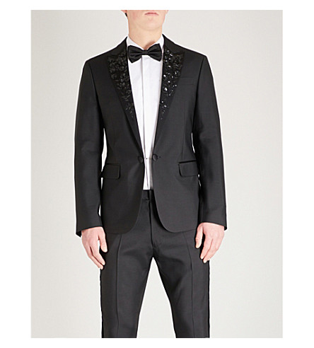 DSQUARED2 Floral sequin-embellished wool and silk-blend tuxedo jacket (Black