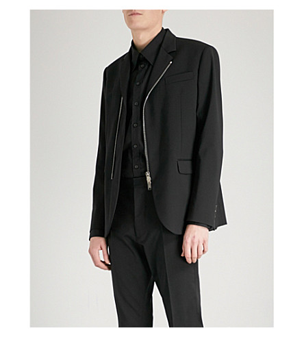 DSQUARED2 Asymmetric stretch-wool jacket (Black