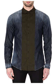 D SQUARED Contrast-placket denim shirt
