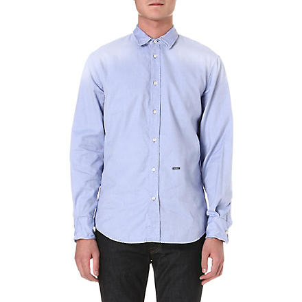 D SQUARED Wire-collar Oxford shirt (Blue