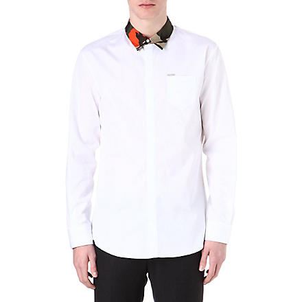D SQUARED Camouflage-collar relaxed-fit shirt (White/orange