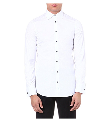 D SQUARED Contrast-button shirt (White