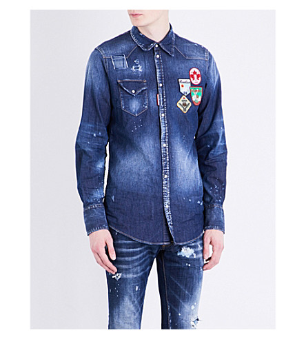 DSQUARED2 Badge-embroidered stretch-denim shirt (Blue