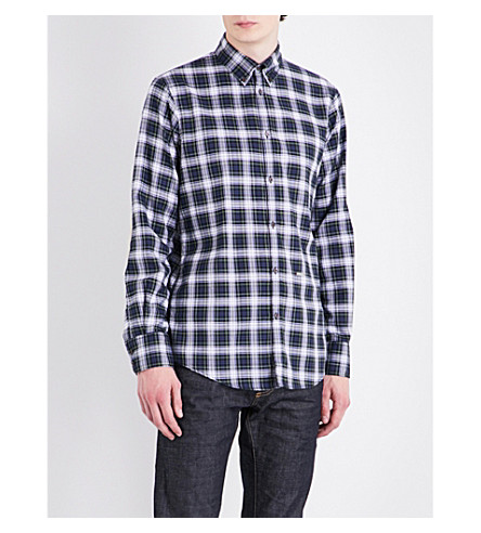 DSQUARED2 Regular-fit checked elbow patch shirt (Red+green+white