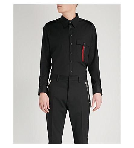 DSQUARED2 Metallic-trim stretch-cotton shirt (Black