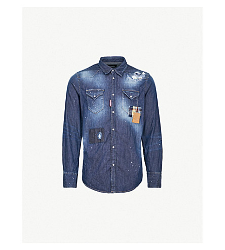 DSQUARED2 Splatter-print regular-fit denim shirt (Blue