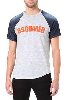 D SQUARED Denim-sleeve raglan t-shirt