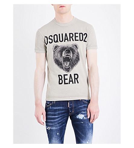 DSQUARED2 Logo bear-print cotton-jersey T-shirt (Stone