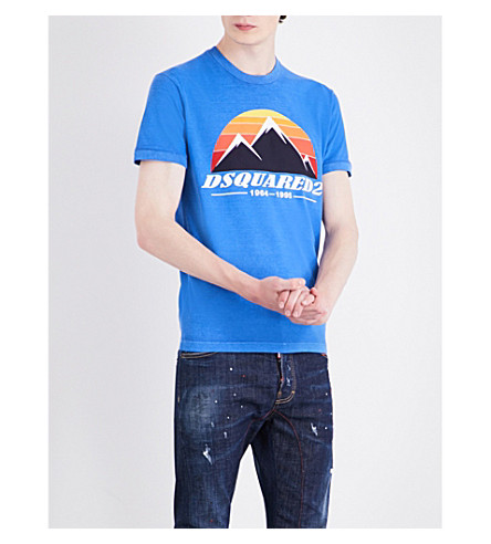 DSQUARED2 Mountain-print cotton-jersey T-shirt (Bluette