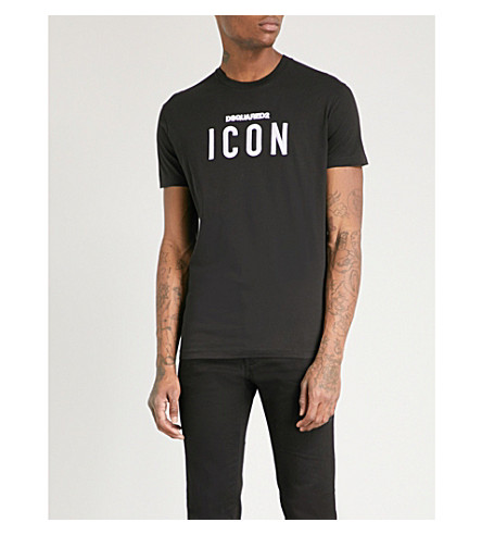 DSQUARED2 Icon-embroidered cotton-jersey T-shirt (Black