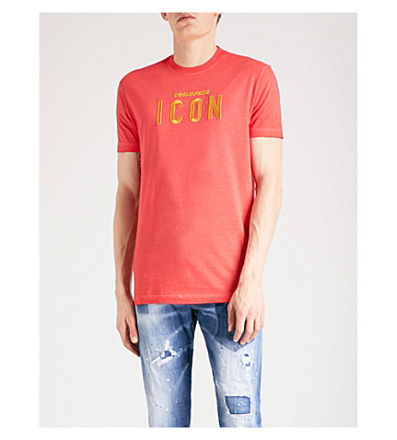 DSQUARED2 Icon-embroidered cotton-jersey T-shirt (Red
