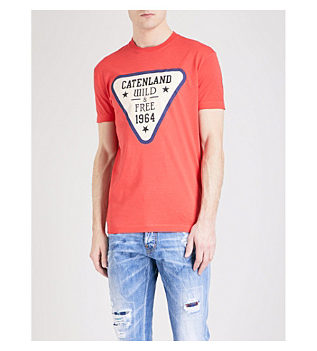 DSQUARED2 Catenland-print cotton-jersey T-shirt (Red