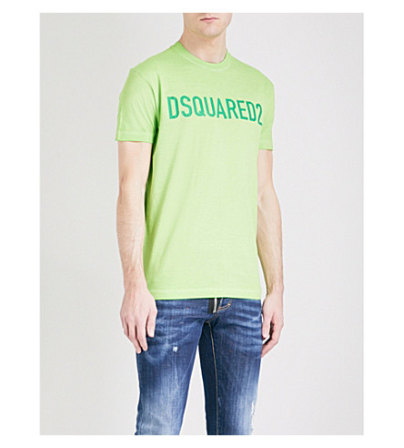 DSQUARED2 Logo-print cotton-jersey T-shirt (Green