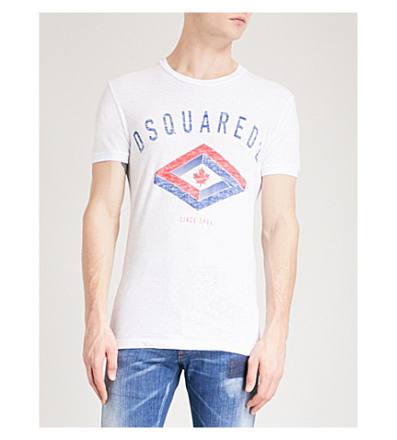 DSQUARED2 Maple leaf-print cotton-jersey T-shirt (White