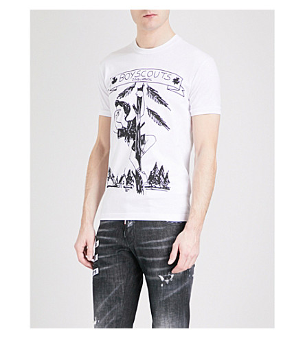 DSQUARED2 Boy Scout-print cotton-jersey T-shirt (Black