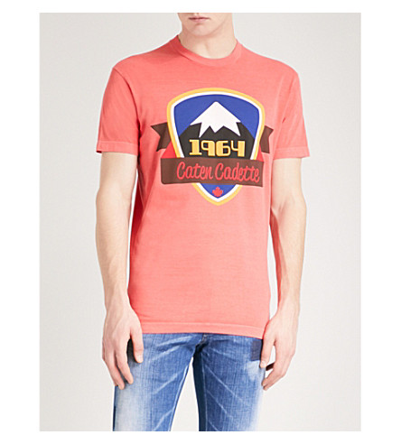 DSQUARED2 Peak 1964-print cotton-jersey T-shirt (Coral