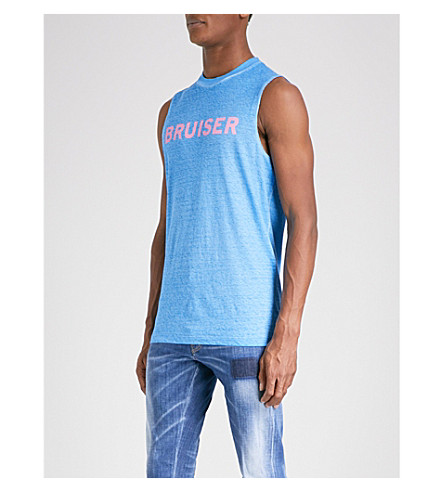 DSQUARED2 Bruiser cotton-jersey vest (Light+blue