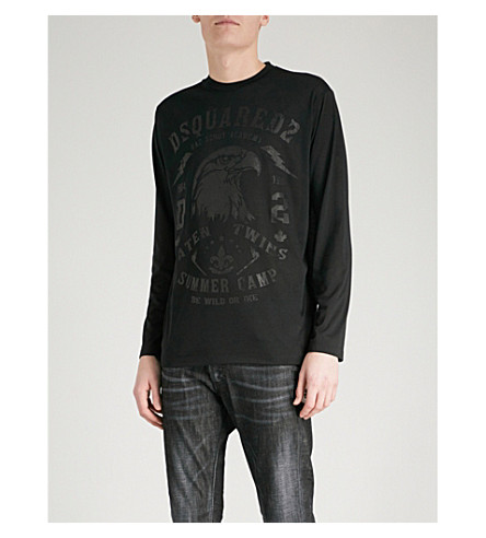 DSQUARED2 Eagle-print jersey top (Black