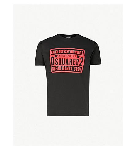 DSQUARED2 徽标打印棉 T 恤 (黑色
