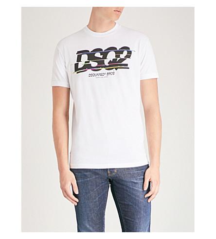 DSQUARED2 徽标打印棉 T 恤 (白色