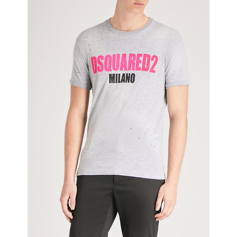 DSQUARED2 LOGO-PRINT COTTON-BLEND T-SHIRT