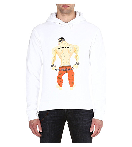 D SQUARED Jail Man hoody (White