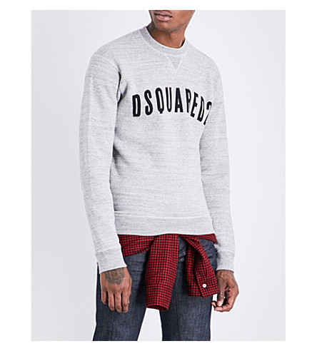 DSQUARED2 Undershirt-detail cotton and wool sweatshirt (Grey