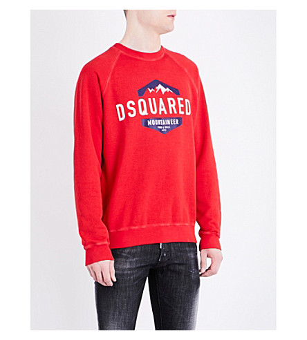 DSQUARED2 Mountain-print cotton-jersey sweatshirt (Red
