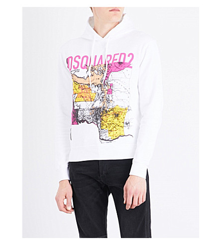 DSQUARED2 Map-print cotton-jersey hoody (White