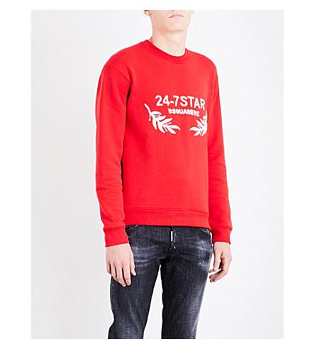 DSQUARED2 24-7 star cotton-jersey sweatshirt (Red
