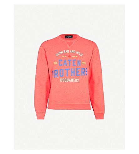 DSQUARED2 Logo-print cotton-jersey sweatshirt (Coral