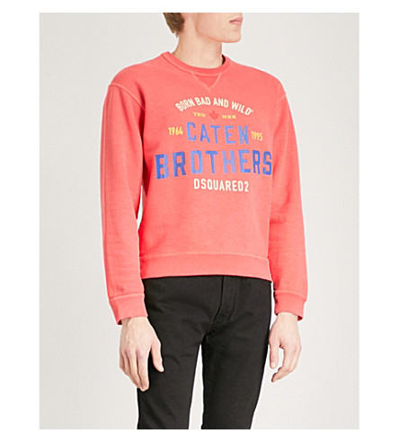 DSQUARED2 Logo-print cotton-jersey sweatshirt (Coral
