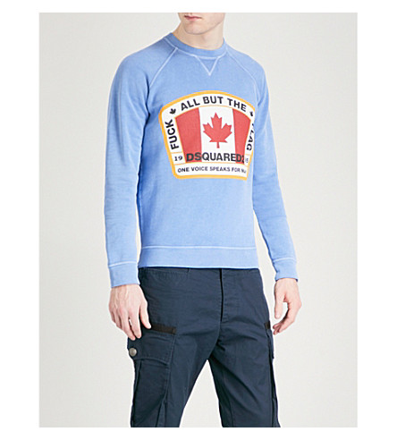 DSQUARED2 Flag cotton-jersey sweatshirt (Sky+blue