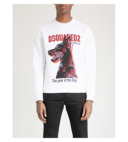 DSQUARED2 Year of the Dog-print cotton-jersey sweatshirt (White