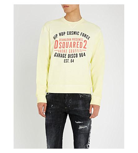 DSQUARED2 车库迪斯科平纹针织棉毛衣 (黄色