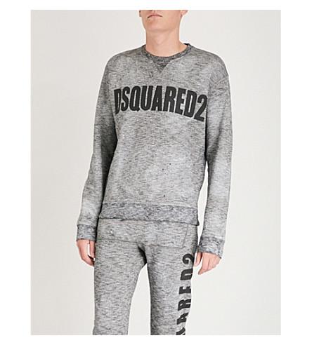 DSQUARED2 徽标打印平纹针织棉卫衣 (深色 + 灰色