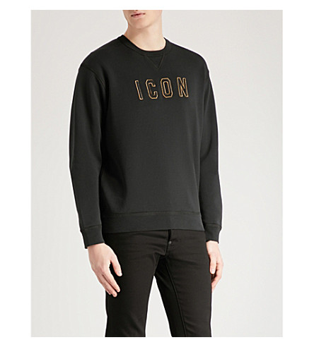DSQUARED2 Icon-print cotton-jersey sweatshirt (Black